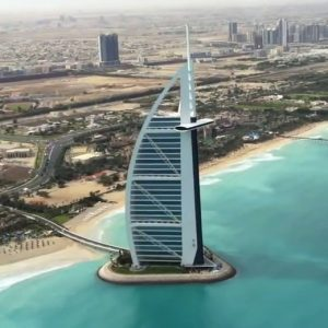 Burj-al-arab from helicopter